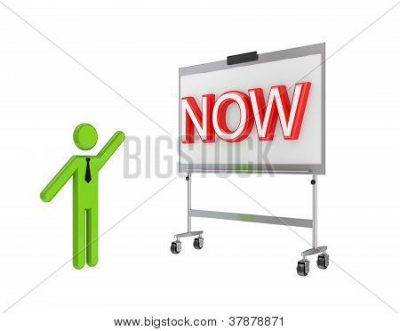 3d small person with a flipchart and big word NOW.