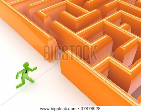 3d small person running to a labyrinth.