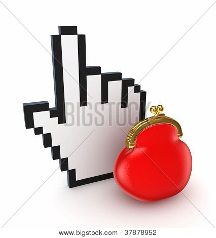 Hand cursor and red purse.