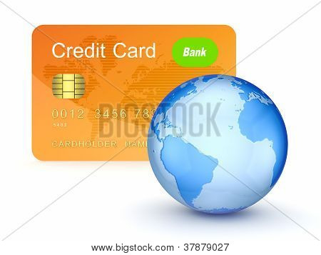 Credit card and globe.