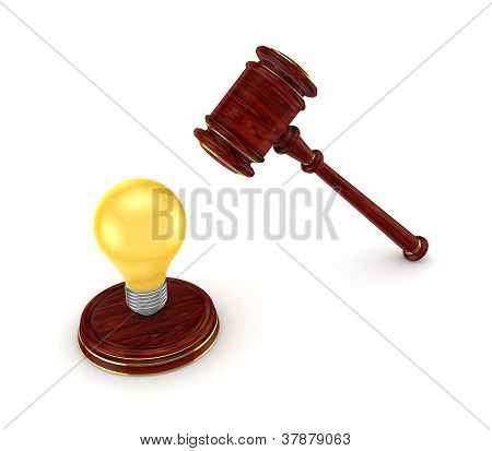 Wooden hammer and yellow lamp.
