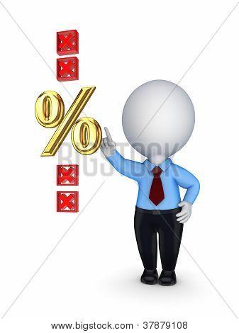 3d small person pushed percents symbol.