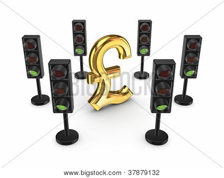 Traffic lights around pound sterling sign.