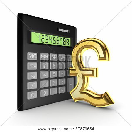 Calculator and golden sign of pound sterling.