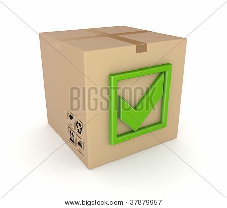 Green tick mark on a carton box.