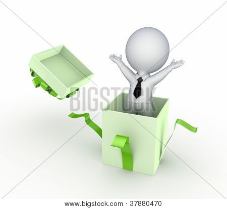 3d small person in a gift box.
