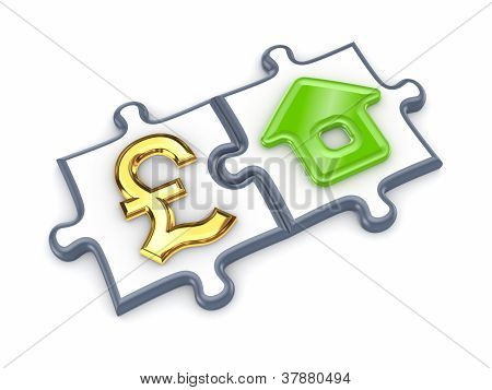 Puzzles with pound sterling and home symbol.