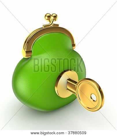 Gold key in a green vintage purse.