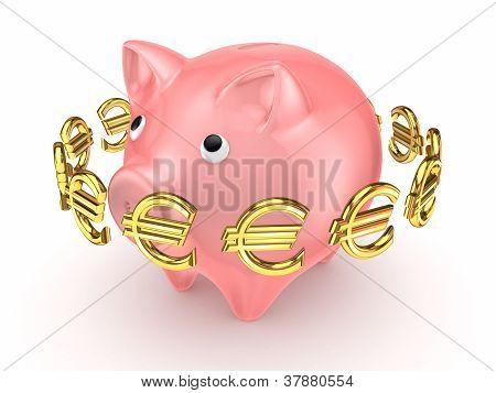 Sinais de euro dourado ao redor de porquinho rosa.