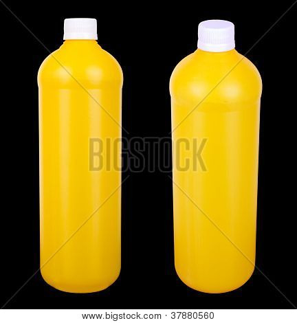 Two Yellow Containers For Hygiene Products