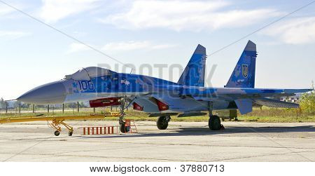 Kyiv, Ukraine - September 29: Ukrainian Air Force Su-27 During 8Th International Aviation Salon Avia