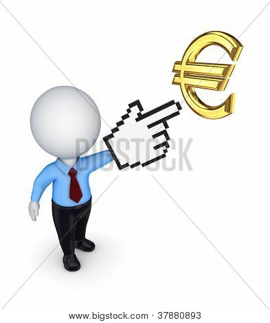3d small person pointing to euro symbol.