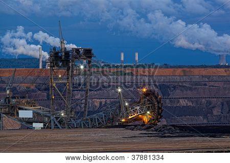 Bucket-wheel excavator in an open pit.