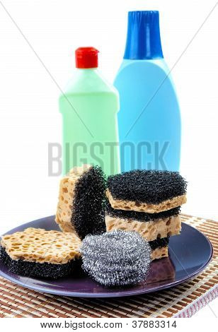Kitchen Sponges For Ware Washing On A White Background