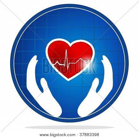 Human heart protection symbol