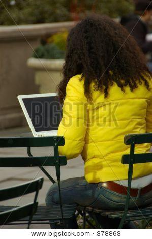 Mujer en el parque con la computadora