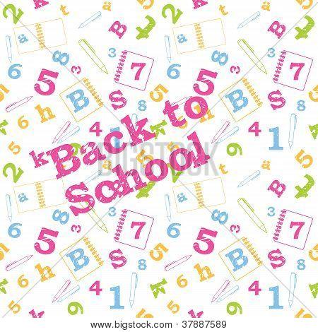 School seamless pattern, numbers, letters