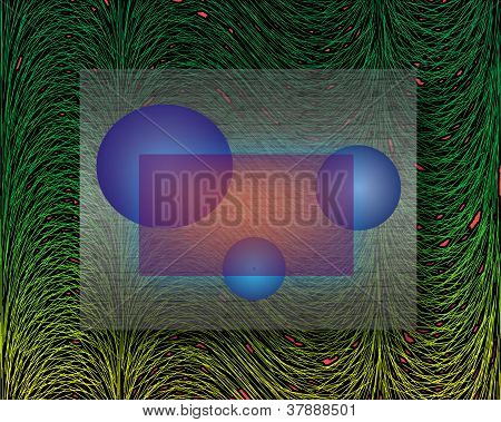 Abstract Composition With Aballs On Green Background