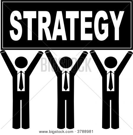 Stick Men Business Holding Sign Saying Strategy