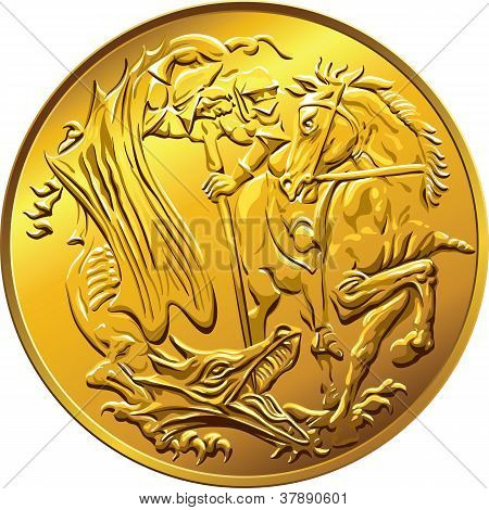 Vector British Money Gold Coin Sovereign, With The Image Of St. George Slaying The Serpent