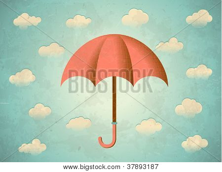 Aged Card With Umbrella