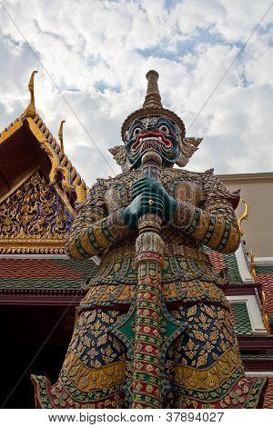 Statue of demon Yaksha at Wat Phra Kaew, Bangkok