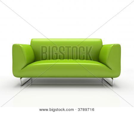 Moderno sofá verde aislado sobre fondo blanco