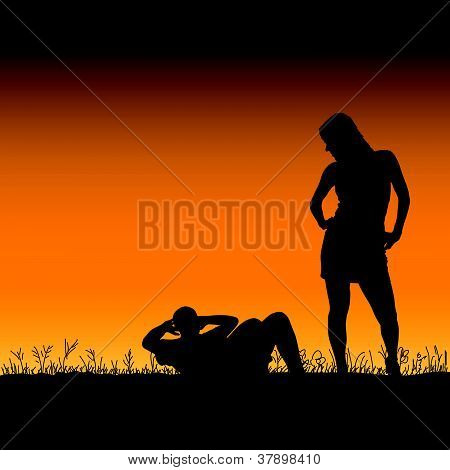 Man And Woman In The Nature Vector Illustration
