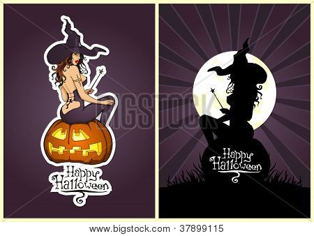 Happy Halloween's Vector: The Sexy Witch On A Pumpkin