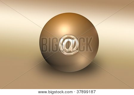 Golden ball with mail sign on top