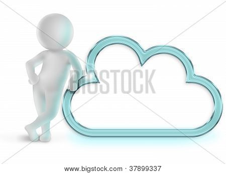 3d man leaning on a blue cloud