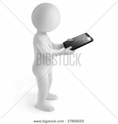 3d man with tablet