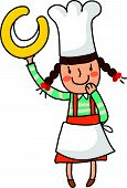 Portrait of girl in chef uniform holding alphabet c