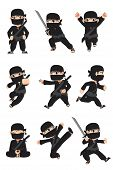 stock photo of ninja  - A vector illustration of different poses of a kid ninja - JPG