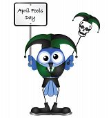 pic of imbecile  - Comical April Fools Day message isolated on white background - JPG