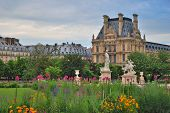 image of garden sculpture  - Wonderful architecture of Paris and flowering Tuileries Gardens in the evening - JPG