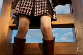 picture of upskirt  - sexy slim knees on the stairs to sky - JPG