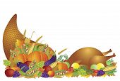 stock photo of cornucopia  - Thanksgiving Day Fall Harvest Cornucopia with Turkey Dinner Feast Pumpkins Fruits and Vegetables illustration - JPG