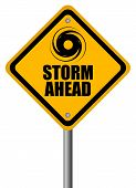 stock photo of hurricane clips  - Storm warning sign - JPG