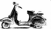 image of vespa  - The vespa hand drawing illustrated into vector works - JPG