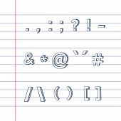 pic of hashtag  - Several hand drawn text symbols on lined paper - JPG
