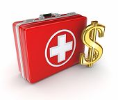 Medical suitcase and golden dollar sign.