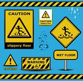 stock photo of slip hazard  - sign caution slippery floor wet flor warning collection template - JPG