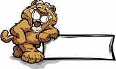image of cougar  - Mountain Lion or Cougar Smiling Mascot Leaning on a Sign Vector Illustration - JPG
