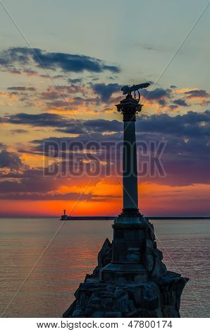 Monument To The Sunk Ships In Sevastopol At Sunset.