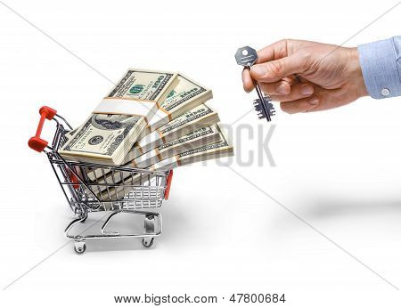 businessman's hand with a key & steel grocery cart full of money stacks - isolated on white backgrou