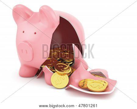 Piggy Bank With Golden Coins
