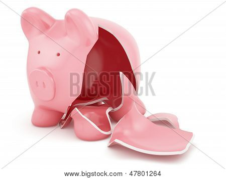 Empty Broken Piggy Bank