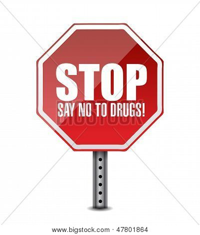 Say No To Drugs. Stop Sign Illustration Design