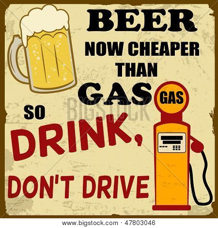 Beer Now Cheaper Than Gas, Drink Don't Drive, Vintage Poster